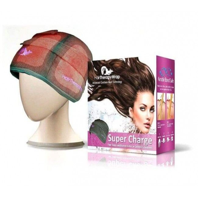 Hair Therapy Wrap Bonnet chauffant sans fil couleur Noir