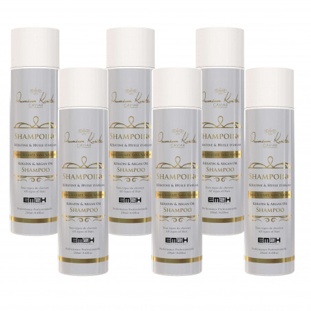 Pack de 6 shampoing sans sulfate premium keratin caviar