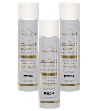 Premium Keratin Caviar pack de 3 Shampoings sans sulfates