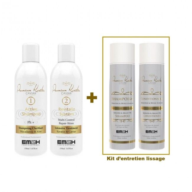 Premium Keratin Caviar 150ml Kit and Smoothing Extension aftercare